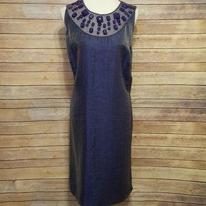 EUC Adrianna Papell purple/gold tint dress Sz. 18W